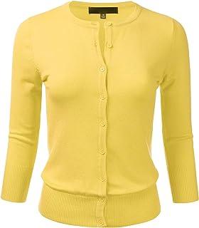 ea35c30bb65 FLORIA Women s Button Down 3 4 Sleeve Crew Neck Knit Cardigan Sweater ...
