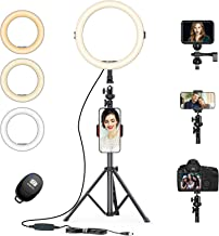 "Today Deals 12'' Selfie Ring Light with 3 Color Modes 10 Adjustable Brightness 57.9"" Extendable Tripod Stand Phone Holder, Wireless Remote Shutter for Photography Makeup Live Stream YouTube Vlogs"