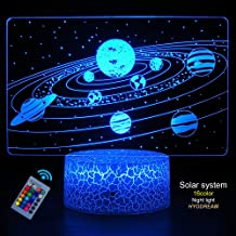 HYODREAM Solar System 3D Optical Illusion Lamp Universe Space Galaxy Night Light for Kids Boys and Girls as on Birthdays or Holidays (Solar System)