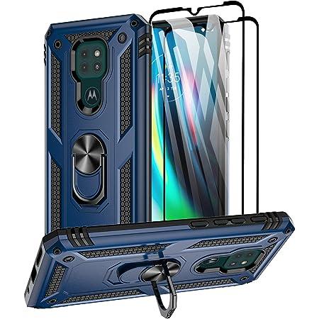 Aliruke Moto G9 Play/Moto E7 Plus/Moto G9 Funda con protector de pantalla de vidrio templado y anillo magnético soporte soporte soporte de grado militar, funda protectora para teléfono para Motorola Moto G9 Play, azul