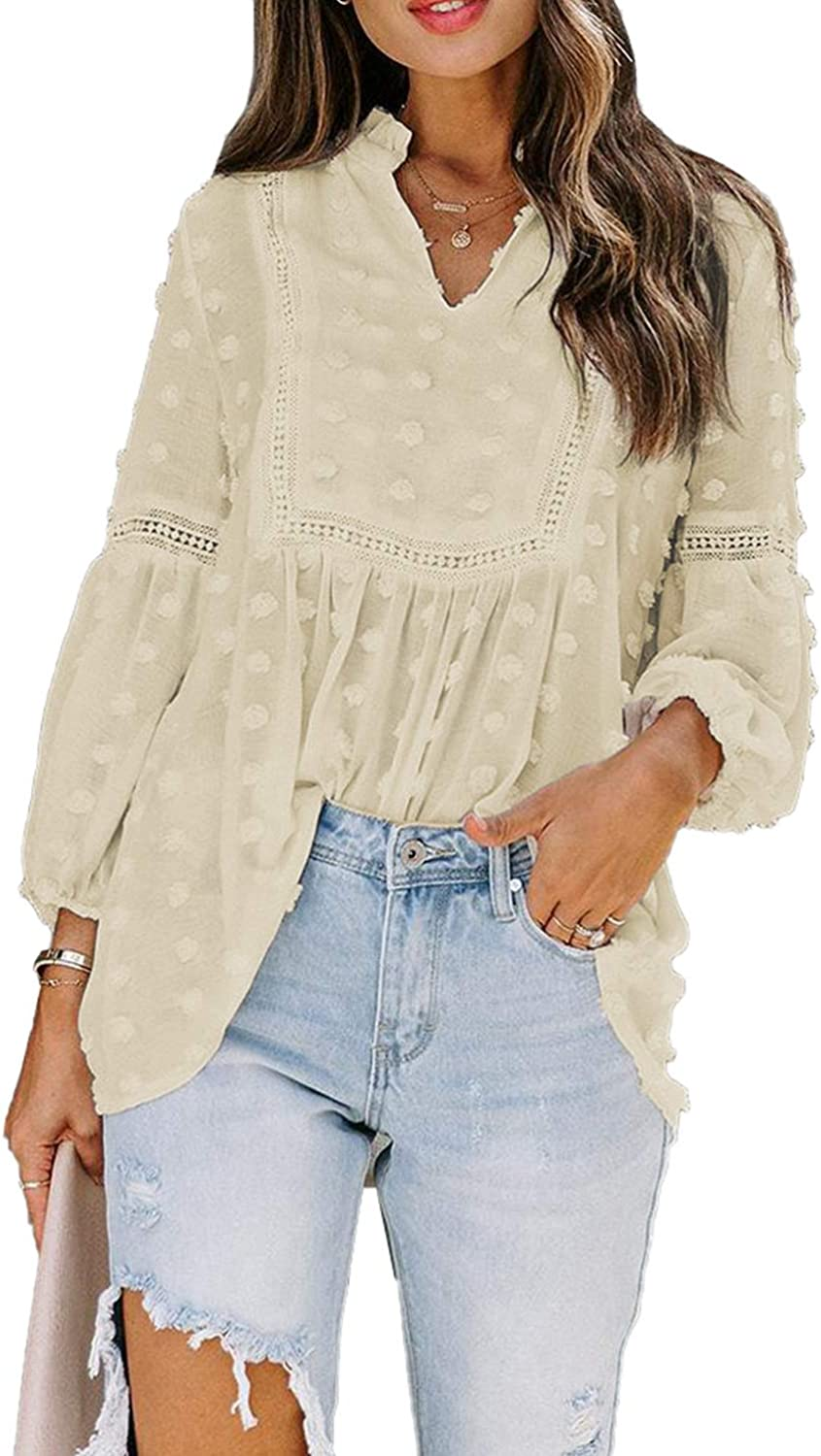 Biucly Women Summer Casual V Neckline Loose Tops Blouses Shirt