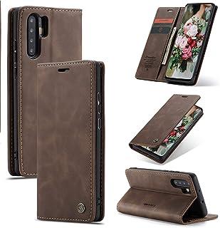 AZONE Handyhülle für Huawei P30 Pro Hülle  Premium Leder Flip Schutzhülle Ledertasche Etui Lederhülle   (Kaffee Braun)