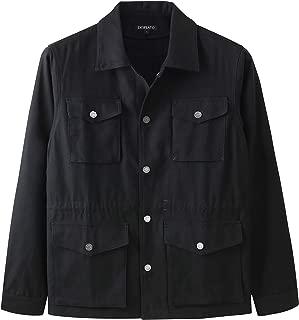 Men's Casual Lightweight Military 4 Pockets Cotton Shirt Safari Jacket