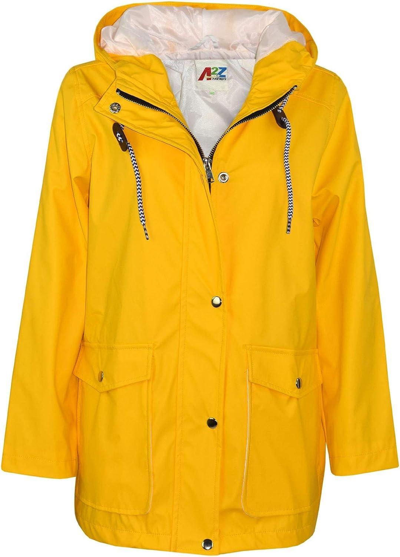 A2Z 4 Kids PU Raincoat Yellow Jackets Windbreaker Waterproof Parka Shower Resistant Hooded Raincoat Girls Boys Age 5-13 Years