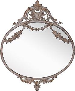 NIKKY HOME Espejo 26.5 CM de Colgar en la Pared decoración Arte Vintage Estilo Antiguo Metal Regalo