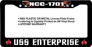 Star Trek NCC-1701 USS Enterprise Custom License Plate Frame (ABS Plastic Frame, Qty 1)