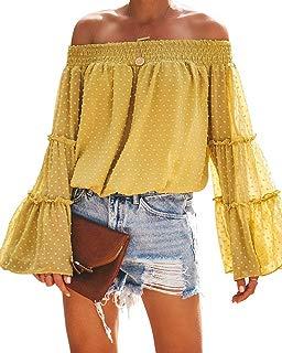 Women Off Shoulder Chiffon Blouse Ruffle Bell Sleeve Casual Dot Top Shirt