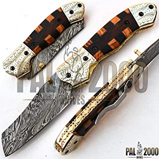 PAL 2000 KNIVES Handmade Hand Forged Damascus Steel Blade Folding Pocket Knife 8 Inches Rose Wood and Olive Wood Handle Hand Engraved Guard with Leather Sheath Have Clip New Item 9613