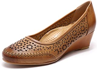 Women's Leather Pumps Dress Shoes High Heels Med Heel...