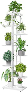 JEPRECO Metal Plant Stand 8 Tier 9 Potted, Multiple Flower Pot Holder Shelves Organizer Rack for Garden Balcony Patio Living Room Indoor Outdoor (9 Pot Positions, White)