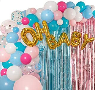 Gender Reveal Party Supplies Balloon Garland Kit - Balloon Arch Kit with 90 Balloons (Small, Big, Gold Confetti, Blue, Pink Balloons and More!), with OH BABY Foil Balloon, Tinsel Curtain, Balloon Pump, and Balloon Tape - Latex Balloon Column