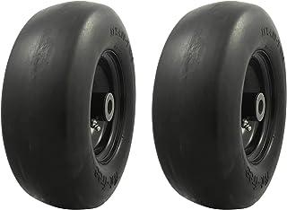 MARASTAR 00232-2pk Universal Fit Flat Free 11x4.00-5 Lawnmower Tire Assembly, 3.4