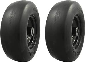 MARASTAR 00232-2pk Universal Fit Flat Free 11x4.00-5 Lawnmower Tire Assembly, Black