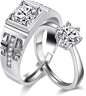 Uloveido 2 pcs Adjustable His and Hers Engagement Ring Set Puzzle Matching Heart Wedding Bands Couples Gifts LB018