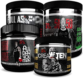 Rich Piana 5% Nutrition Pre-Workout Stack | 5150 Preworkout (Tropical Rage), FAF N.O. Preworkout (Fruit Punch), All Day Yo...