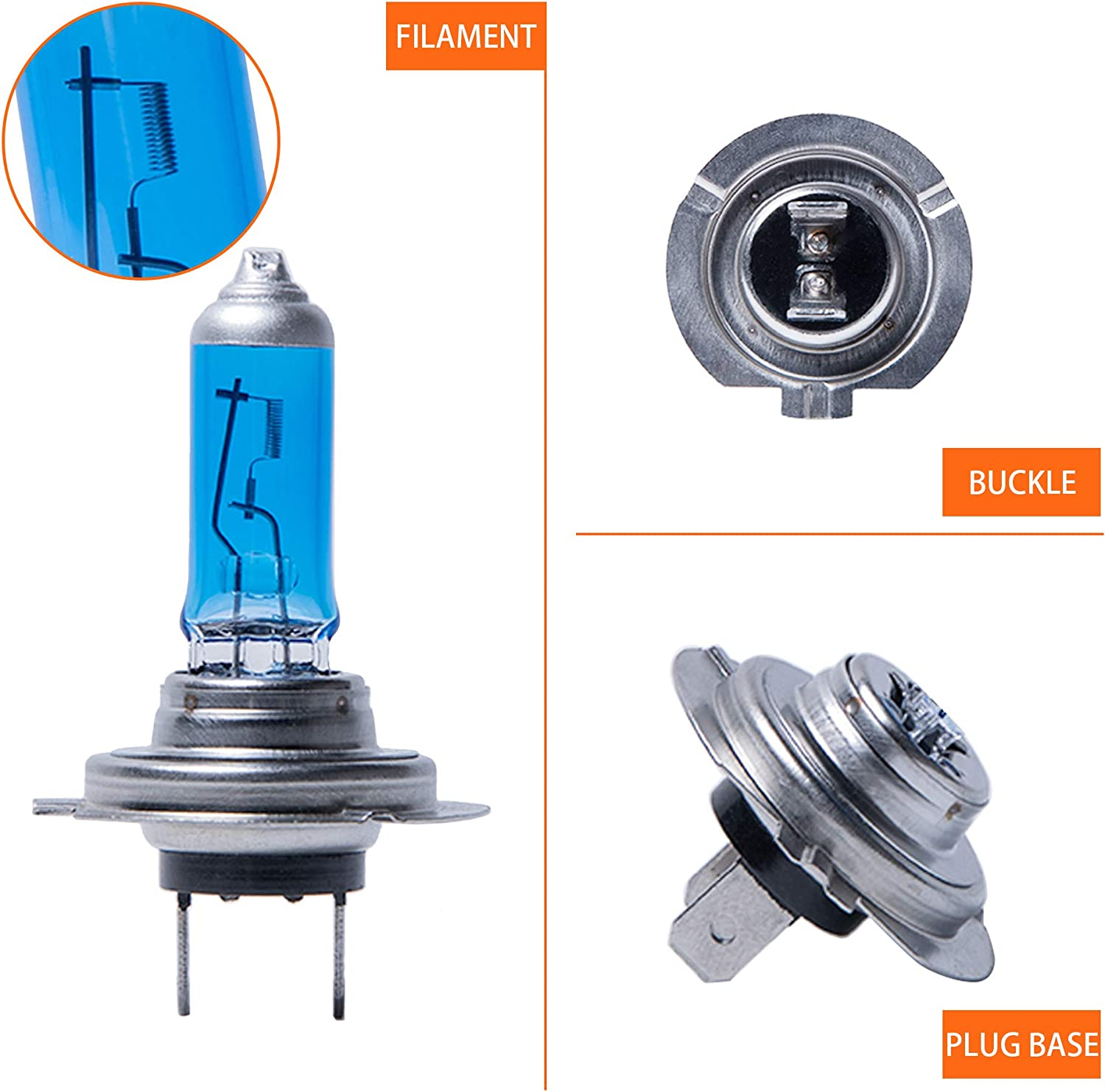 High Performance Long Life 12V//55W 3200 Lumens 5500K White Light for High Beam Low Beam and Fog Replacement Bulb Pack of 2 LIBRALUX H7 Halogen Headlight Bulb Ultra