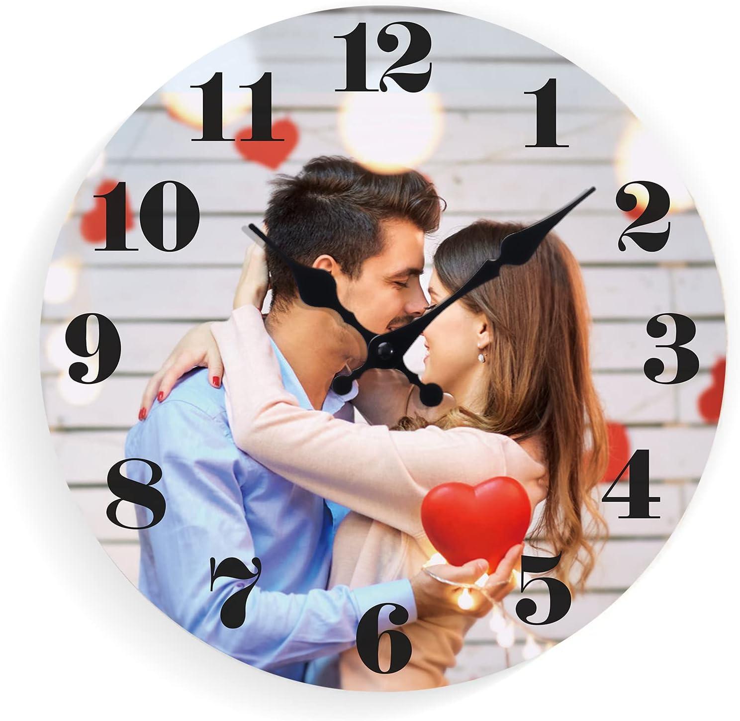CGFN Reloj de pared con foto personalizada, reloj de pared sin sonido de tictac, reloj creativo con foto personalizable, para cocina/dormitorio/sala de estar/oficina