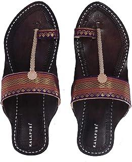 KALAPURI Ladies Kolhapuri Chappal in Genuine Leather with Black Pointed Shape Base and Traditional Paithani Lace Upper. Ha...