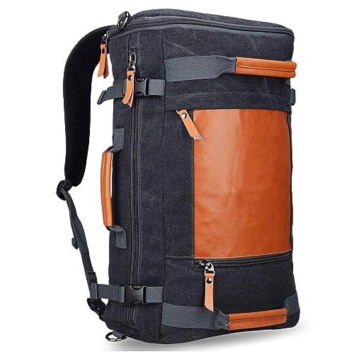 877e73e690 WITZMAN Men Vintage Canvas Rucksack Travel Duffel Backpack Retro Hiking Bag