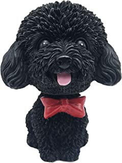 IBWell Mini Bobbing-Head Dog for Car Dash Board Decor,Dashboard Doggy Puppy Teddy Toy with Adhesive Tab(Poodle) (Black A)
