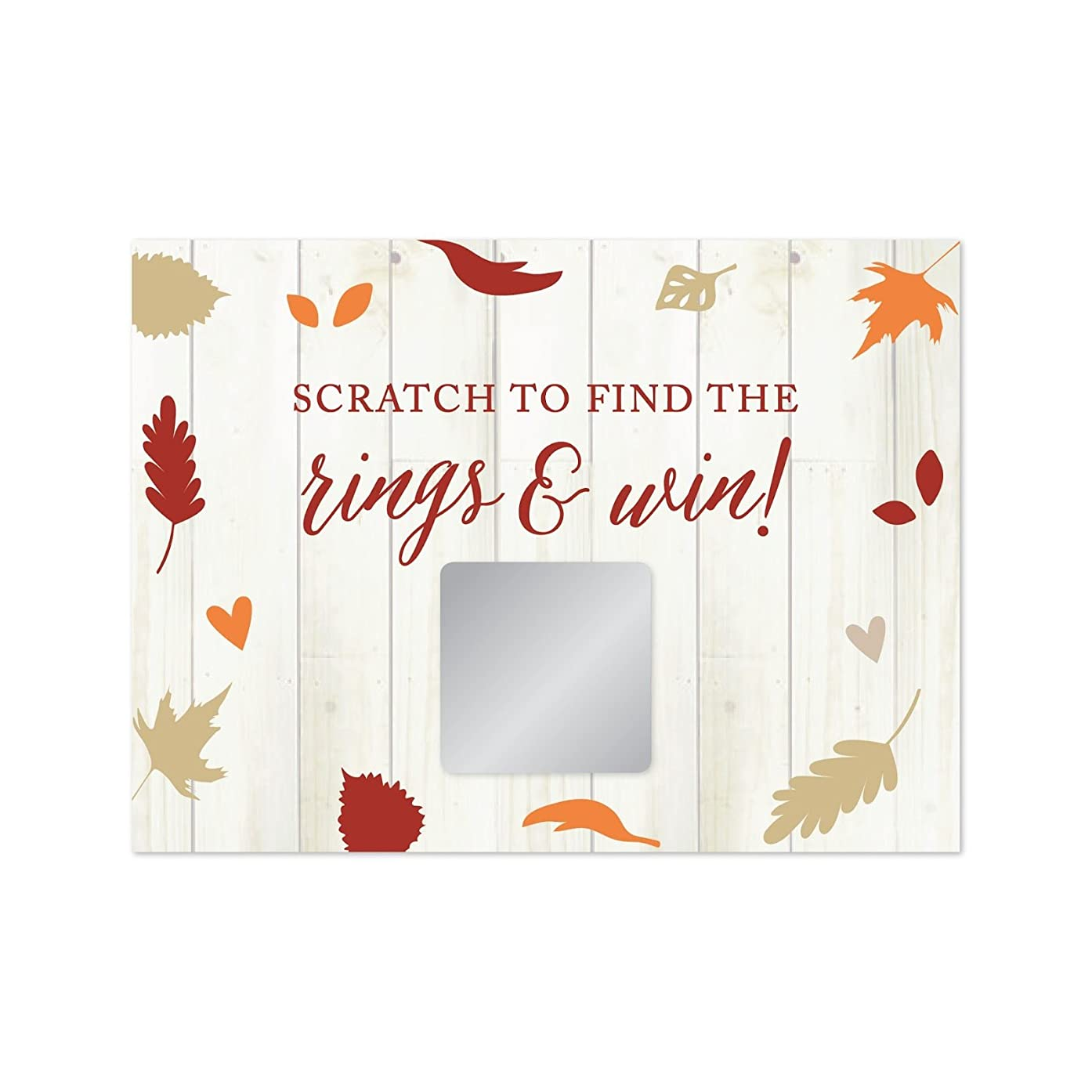 Andaz Press Fallin' in Love Autumn Fall Leaves Wedding Party Collection, Bridal Shower Game Scratch Cards, 30-Pack