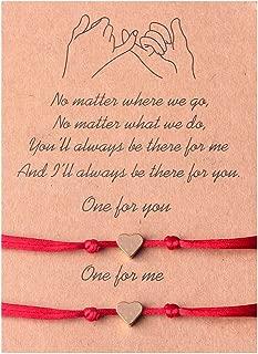 Kelistom Long Distance Relationship Promise Bracelets for Couple Best Friends, Handmade String Rope Heart Evil Eye Charm Protection Bracelet with Slip Knot Friendship Jewelry