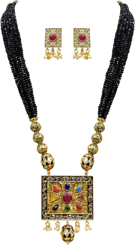 Babosa Sakhi Navratan Black Crystal Pendant Multicolor Antique Jewelry Set