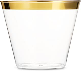 100 Gold Plastic Cups 9 Oz Clear Plastic Cups Old Fashioned Tumblers Gold Rimmed Cups..