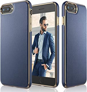 LOHASIC iPhone 8 Plus Case, iPhone 7 Plus Case, Leather Slim Fit Anti Slip Scratch Resistant Soft Flexible TPU Bumper Cases Protective Cover Compatible with iPhone 8 Plus & iPhone 7 Plus - Navy Blue