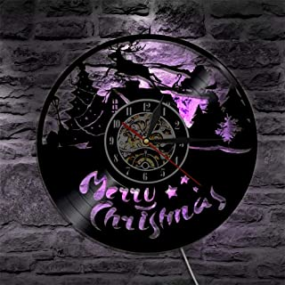 Cute night light owl 1 pieza Merry Christmas vinilo record reloj de pared con renos con retroiluminación LED Santa Claus en trineo silueta lámpara de pared lámpara de mesa de estilo marroquí