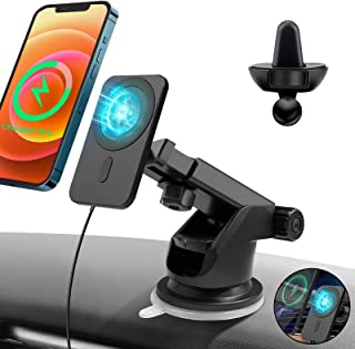 Magnetic Wireless ChargerCompatible withMagsafe,15W Qi Wireless Charging Stand Car Mount, SiliconeAir Vent Car Holder Compatible with iPhone 12/12 Pro/ 12 Mini/ 12 Pro Max [Black]