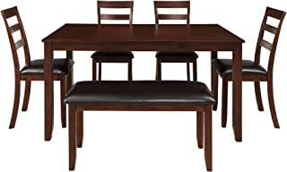 Decor Hut 6-Piece Wooden Dining Tables Set with Faux Leather Upholstered Cushion Ladder-Chairs and Bench - Espresso Finish - Home Furnitures