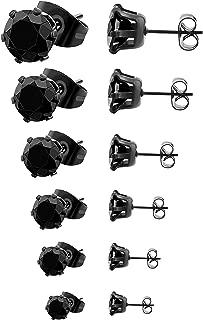 Stainless Steel Stud Earrings set Cubic Zirconia Inlaid,3mm-8mm 6Paris