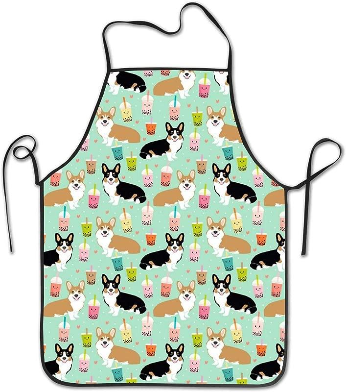 Hefei Dc Fashion Print Apron Corgi Bubble Tea Boba Tea Unisex Kitchen Bib With For Cooking Gardening