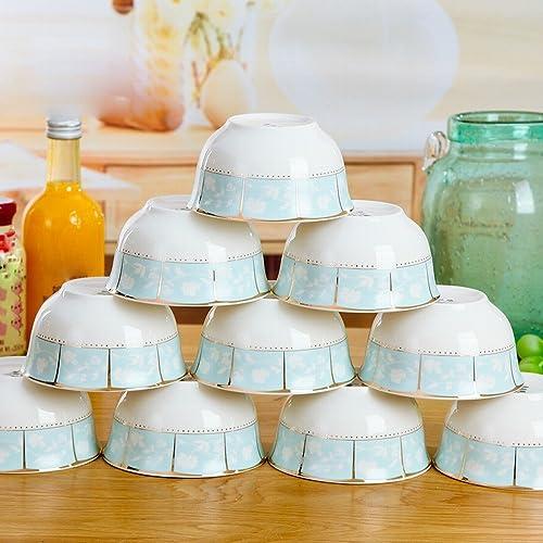 DEED 10 Pcs Maison Riz Bol en Céramique Bol 4,5 Pouce Bol Os Porcelaine Couverts Bol Bol de Riz Maison,C,11,43 CM