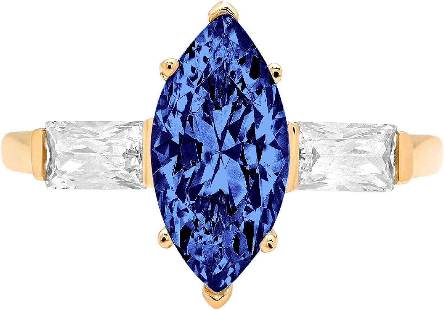1.95 ct Marquise Baguette cut 3 stone Solitaire with Accent Flawless Ideal VVS1 Simulated Tanzanite Ideal Engagement Promise Statement Anniversary Bridal Wedding Designer Ring 14k Yellow Gold