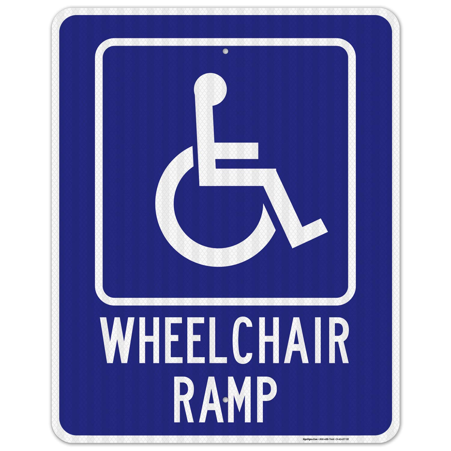 Wheelchair Ramp Sign 24x30 Inches Many popular brands Alumi .080 3M EGP Max 83% OFF Reflective