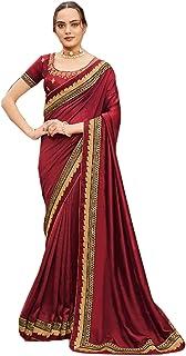 Maroon Plain body designer Border fancy Silk Saree Indian Woman Blouse party festival Sari 6563