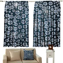 cashewii Diamond Decor Drapes for LivingRoom Diamonds Backdrop Carbon Atoms in Cubic Structure Superlative Physical Objects Art Work Suitable for Bedroom Living Room Study, etc.63 Wx45 L Silver Dark