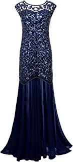 kayamiya Women's 1920s Gown Beaded Sequin Floral Maxi Long Gatsby Flapper Prom Dress