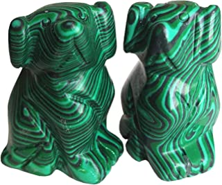Gemgogo 2 Pcs Synthetic Malachite Pocket Carved Lucky Dog Crystals and Healing Stones Figurines Collectibles,1.5 Inches Ro...