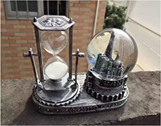Nice Pies Eiffel Tower Snow Globe Crafts,Retro Paris Iron Tower Hourglass Snow Earth Music Box Home Decoration Christmas Valentine's Day Birthday