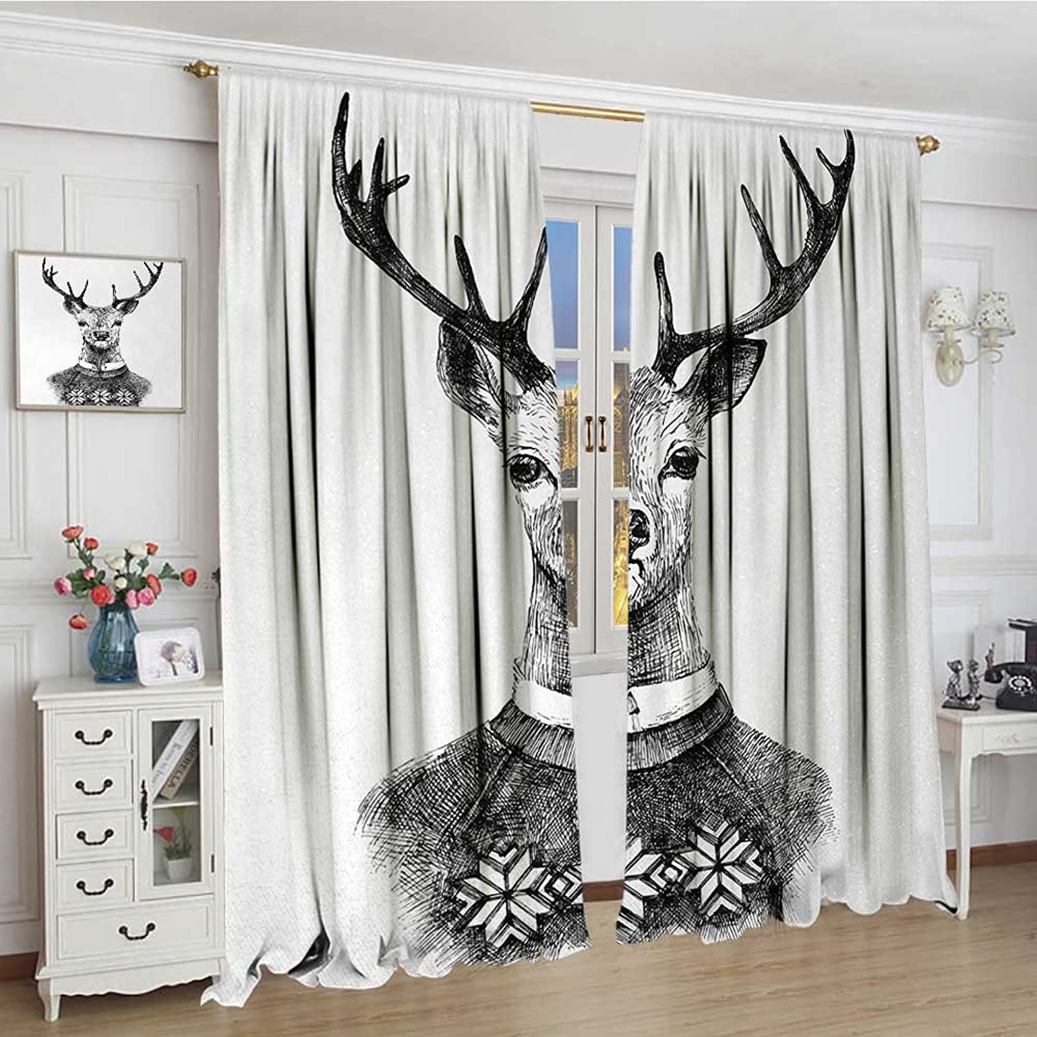 Smallbeefly Indie Widened Blackout Window Curtain Hand Drawn Deer Portrait in a Nordic Style Knitted Sweater Hipster Christmas Waterproof Window Curtain 120 x72  Charcoal Grey White