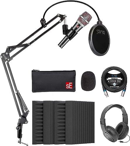 lowest sE Electronics V7 Supercardioid Dynamic Microphone for Vocals & Instruments Bundle with Blucoil popular 4X 12 Acoustic Wedges, lowest 10-FT Balanced XLR Cable, Boom Arm Plus Pop Filter, and Samson SR350 Headphones outlet online sale