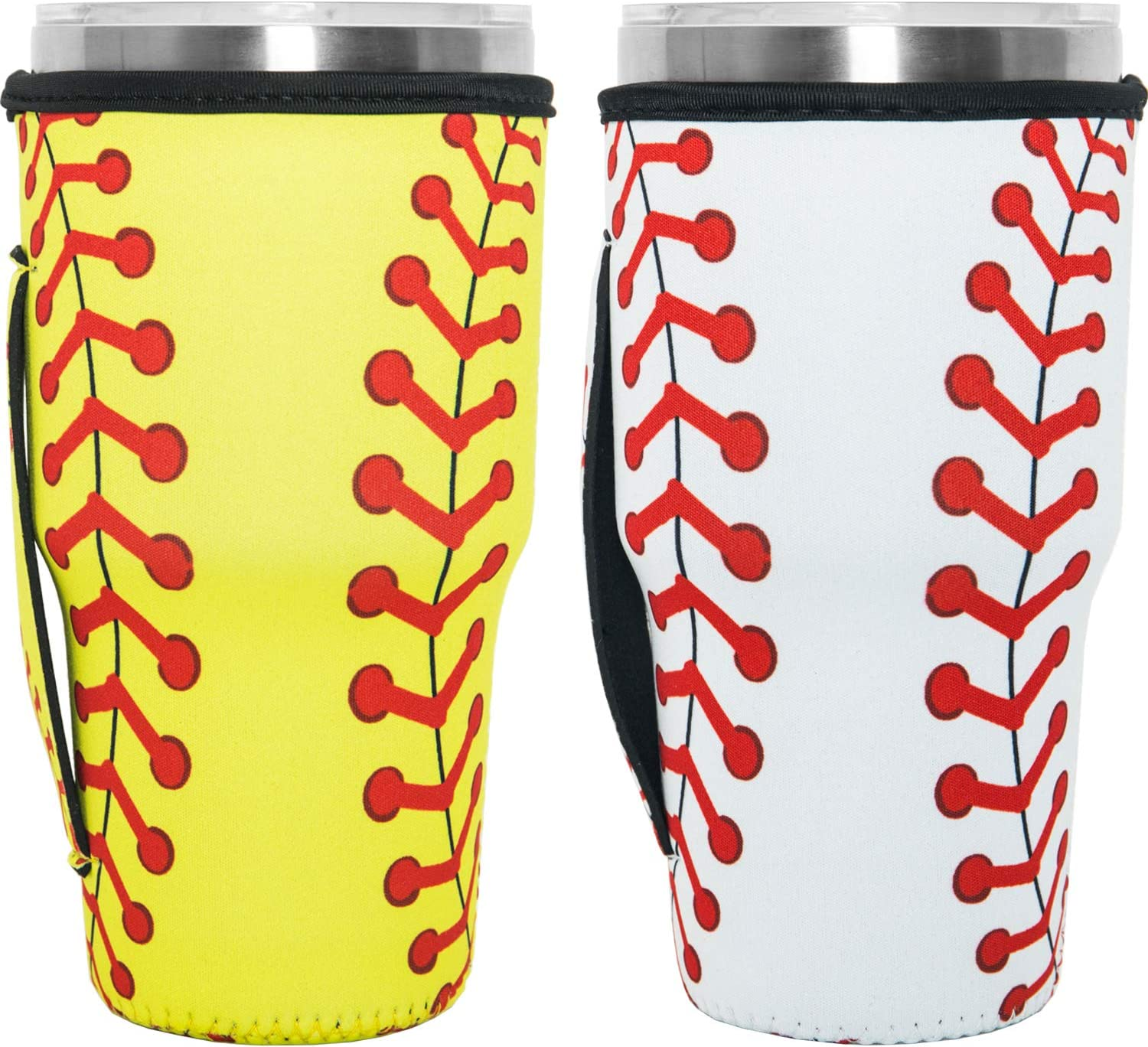 HaiMay 2 Pieces Reusable Iced Coffee Cup Sleeve Neoprene Insulated Sleeves Cup Cover Holder Tumbler Cup Drinks Sleeve Holder Idea for 30oz-32oz Cold Hot Beverages, Baseball Style