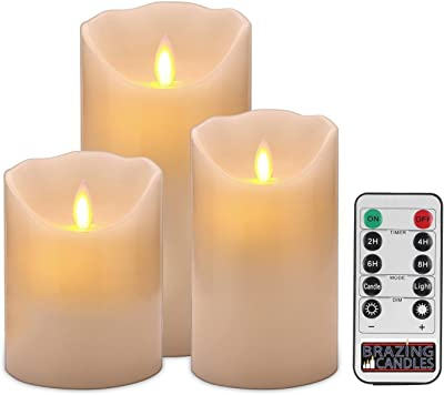 BRAZING CANDLES 3 Pack Pillar Flameless Realistic LED Candles, Ivory, with Remote , 3pc Mixed,4/5/6 inch Tall Moving Flame