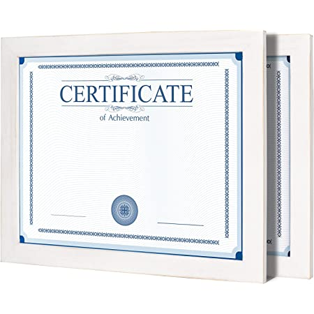 Annecy 8.5x11 Picture Frame (2 Pack, Washed White) -Made of Solid Wood 8.5x11 Photo Frames with Real Glass -Wall Mount & Table Top Display