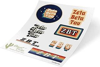 Zeta Beta Tau 70's Themed Sticker Sheet Decal Laptop Water Bottle Car ZBT (Full Sheet - 70's)