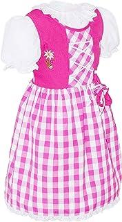 Schrammel Kinder Dirndl mit Beutelchen 3 Teilig mit Unterrock und Bluse Kindertrachten 127 auch in Gr 158-164 für mollige Kinder