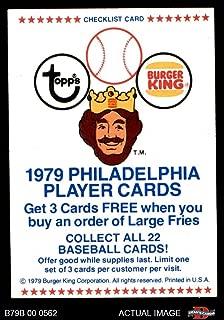 1979 Burger King Phillies Checklist Philadelphia Phillies (Baseball Card) Dean's Cards 5 - EX Phillies